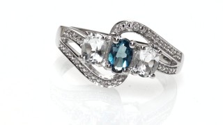 Zales Oval Blue Topaz and Diamond Accent Three Stone Frame Ring in Sterling Silver E6ZURGeYk