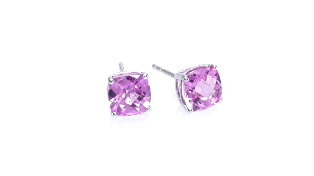 b93b71635 Video Home » Cushion-Cut Lab-Created Pink Sapphire Fashion Stud Earrings in 10K  White Gold ZALES 6.0mm