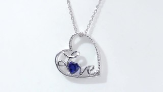 Zales 4.0mm Lab-Created Blue Sapphire and Diamond Accent Cursive Love Tilted Heart Pendant in Sterling Silver OoiEqunOpo