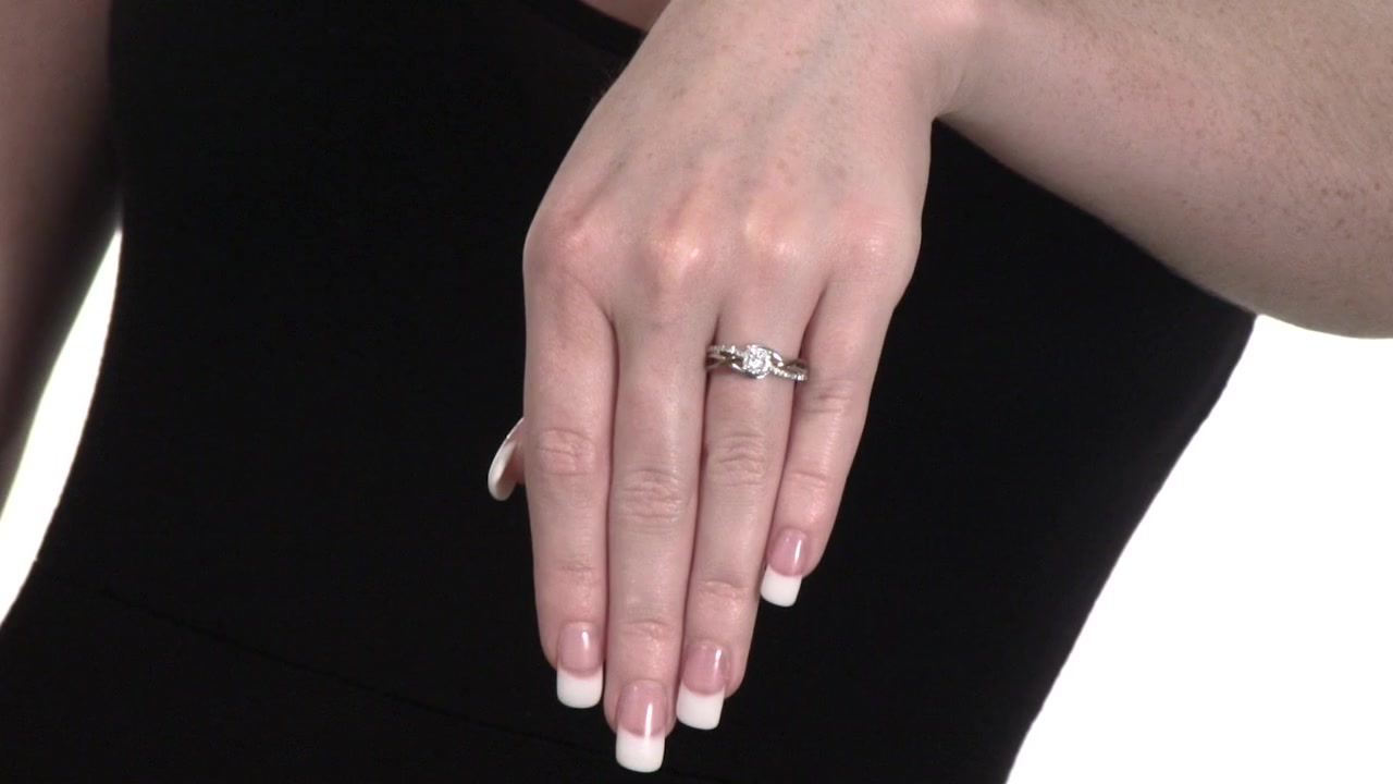 Diamond Frame Promise Ring in Sterling Silver and 10K Rose Gold 1/5 ...