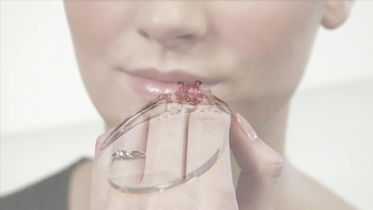 Enhanced Pink and White Diamond Split Shank Promise Ring in 10K ...