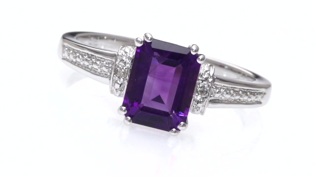 Zales Emerald-Cut Amethyst and Diamond Accent Pendant in 10K White Gold NPqveF0WHV