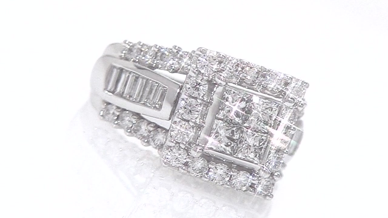 Princesscut Quad Diamond Engagement Ring In 14k White Gold 3 Ct Tw »  Shop Zales  America's Diamond Store Since 1924  For The Best Jewelry  Selection