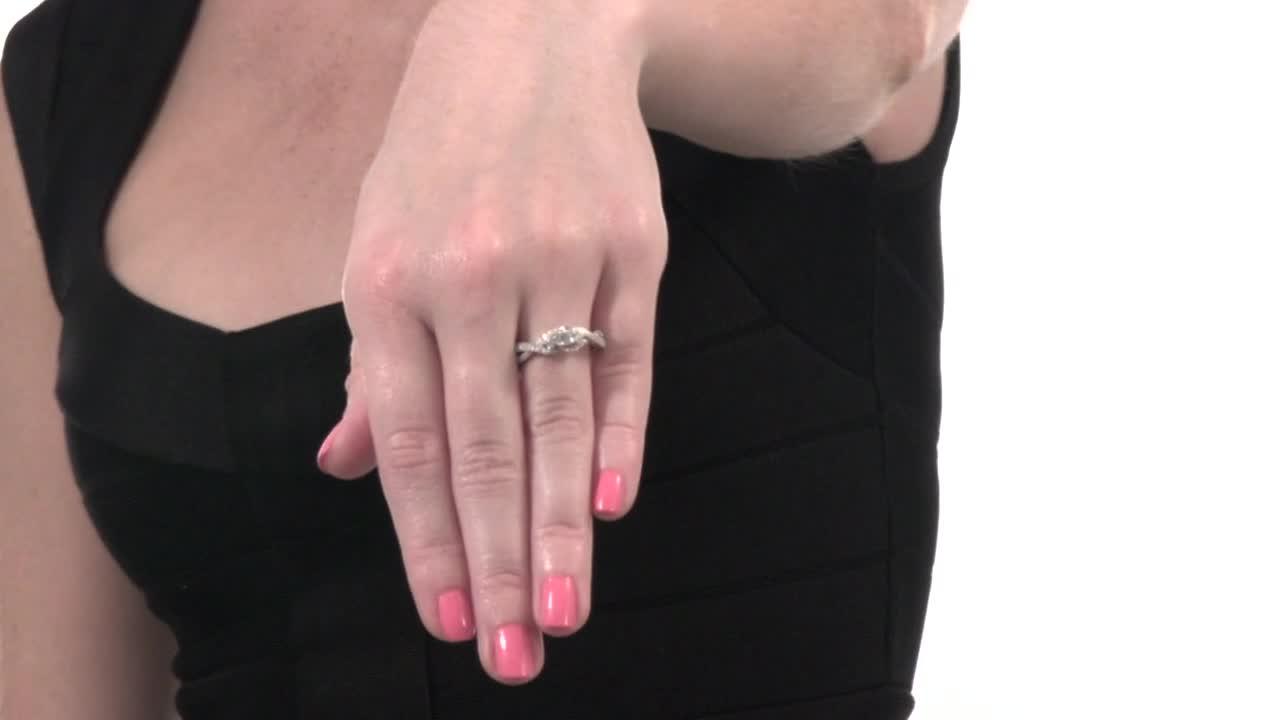 Diamond Three Stone Twist Ring in 10K White Gold 5/8 CT. T.W. 3 ...