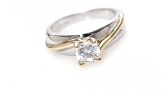 Diamond Solitaire Bypass Engagement Ring In 14k Two Tone Gold Zales 3 4 Ct