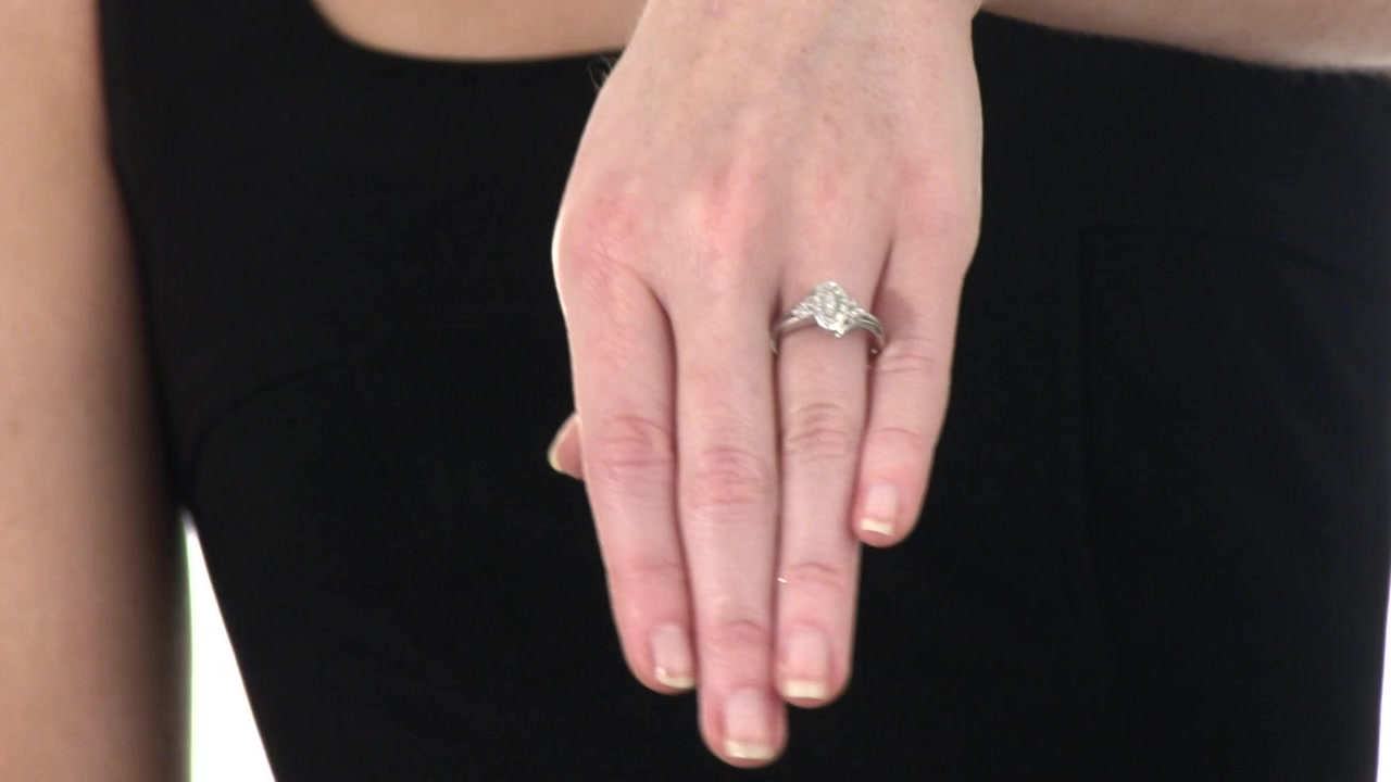 Diamond Marquise Promise Ring in Sterling Silver 1/8 CT. T.W. rings ...
