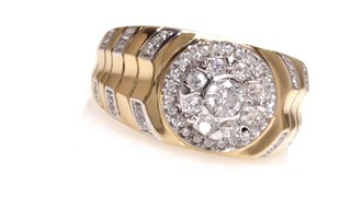 Zales Mens 1/3 CT. T.w. Diamond Fleur-de-Lis Ring in Sterling Silver and 10K Rose Gold k7xBdORdVu