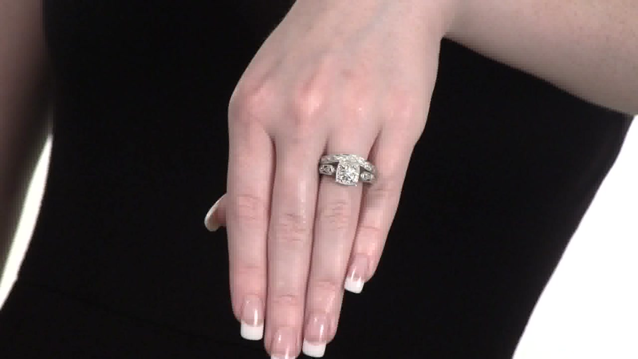 8c99fd611f7 Video Home » Diamond Cascading Bridal Set in Sterling Silver 1 5 CT. T.W.
