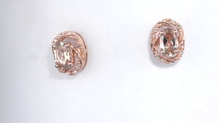 Zales Previously Owned - Oval Morganite and Diamond Accent Orbit Frame Stud Earrings in Sterling Silver with 14K Rose Gold Plate hvAYcBrAMS