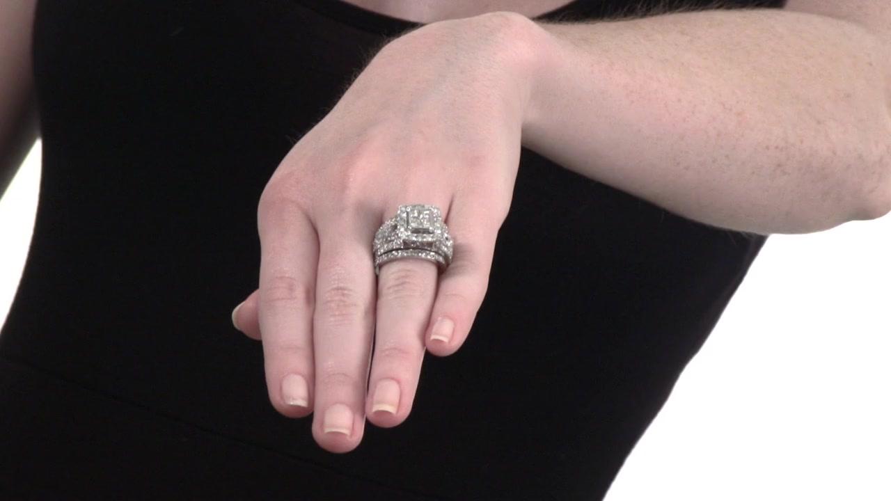 f3c0706f3673d5 Video Home » Princess-Cut Quad Diamond Frame Bridal Set in 14K White Gold 4  CT. T.