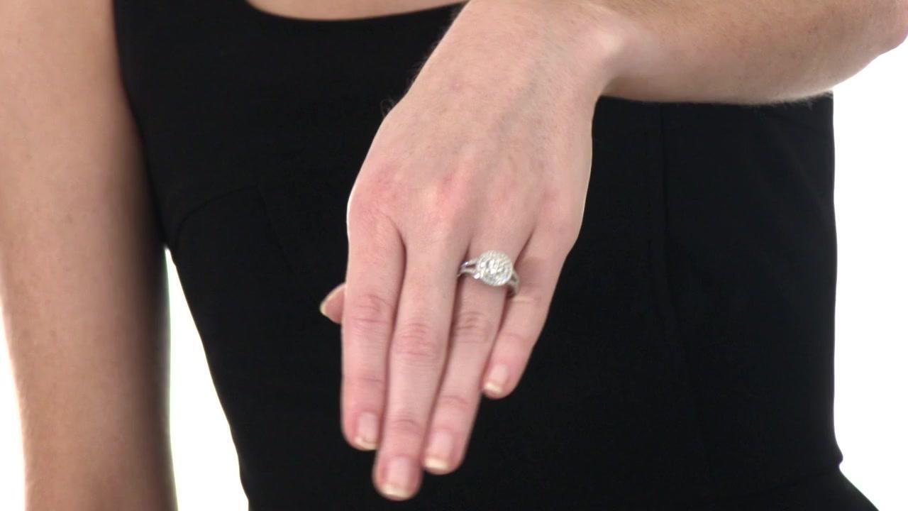 Diamond Frame Cluster Ring in 10K White Gold 1/2 CT. T.W. composite ...