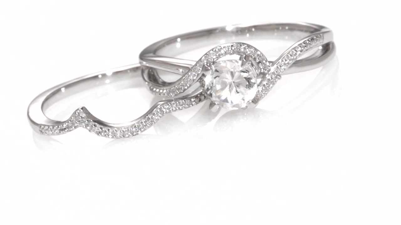 Zales Lab-Created White Sapphire Square Frame Three Stone Engagement Ring in Sterling Silver 8FsWuMD