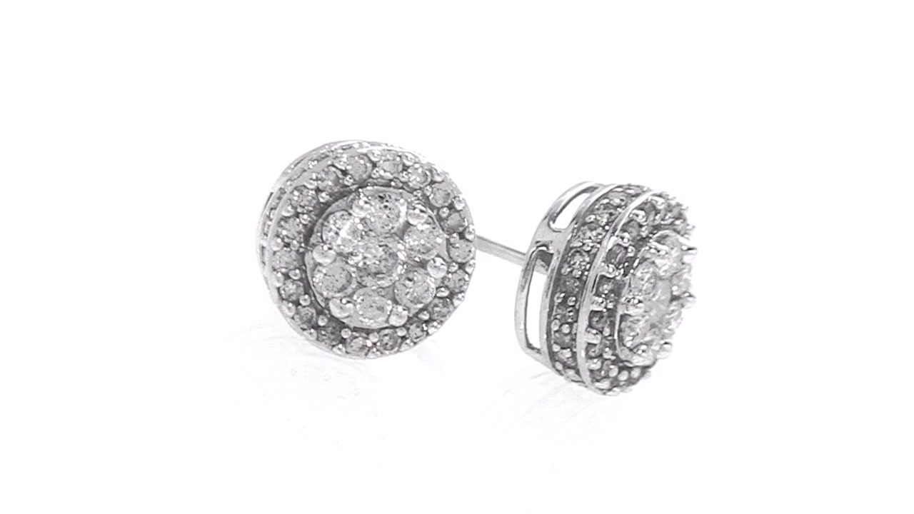 Diamondposite Earrings In 10k White Gold 1 Ct Tw Classic » Shop Zales   America's Diamond Store Since 1924  For The Best Jewelry Selection And