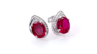 Zales Oval Lab-Created Pink and White Sapphire Teardrop Stud Earrings in Sterling Silver 4DxJ2MksS