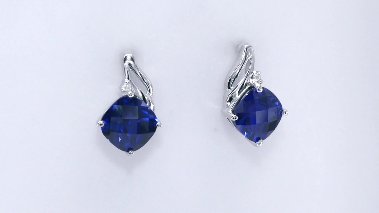 3e1c7ea685a62b Video Home » Cushion-Cut Lab-Created Blue Sapphire and Diamond Accent Drop  Earrings in 10K White Gold, Women's, Size: regular ZALES 8.0mm