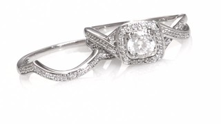 Zales 5.0mm Lab-Created White Sapphire and Diamond Accent Frame Twist Bridal Set in Sterling Silver oc79ZNCD
