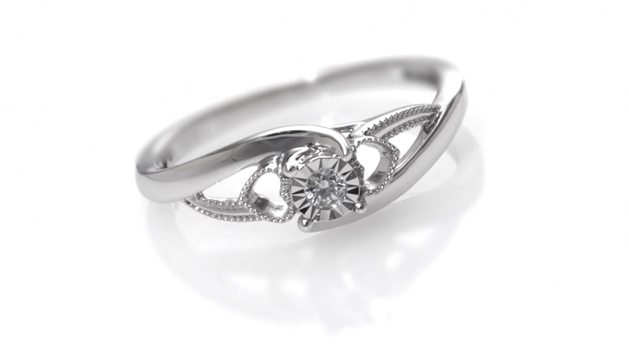 Zales Cherished Promise Collection Diamond Accent Heart Sides Split Shank Promise Ring in Sterling Silver A1iNROs