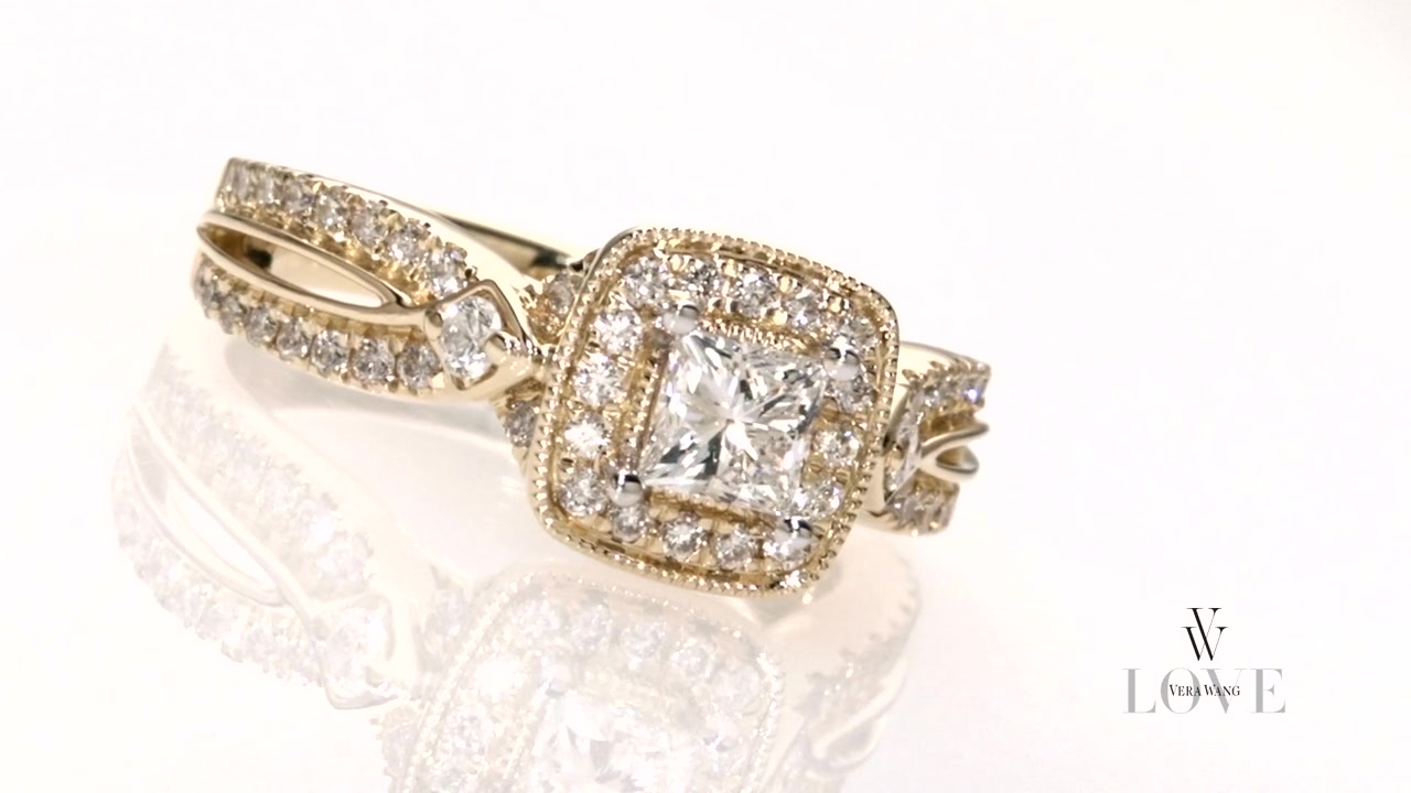 Princesscut Diamond Frame Engagement Ring In 14k Gold Vera Wang Love »  Shop Zales  America's Diamond Store Since 1924  For The Best Jewelry  Selection And