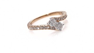 Two Stone Diamond Bypass Ring In 14k Rose Gold Ever Us 1 Shop