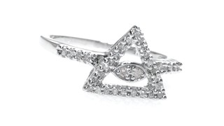 Zales 1/8 CT. T.w. Diamond Pyramid with Evil Eye Ring in Sterling Silver sdTbLT