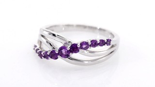 Zales Amethyst Crossover Split Shank Ring in Sterling Silver n6b0gl