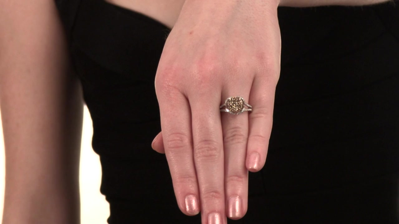 Champagne and White Diamond Cluster Ring in 14K Two-Tone Gold 1-1/4 ...