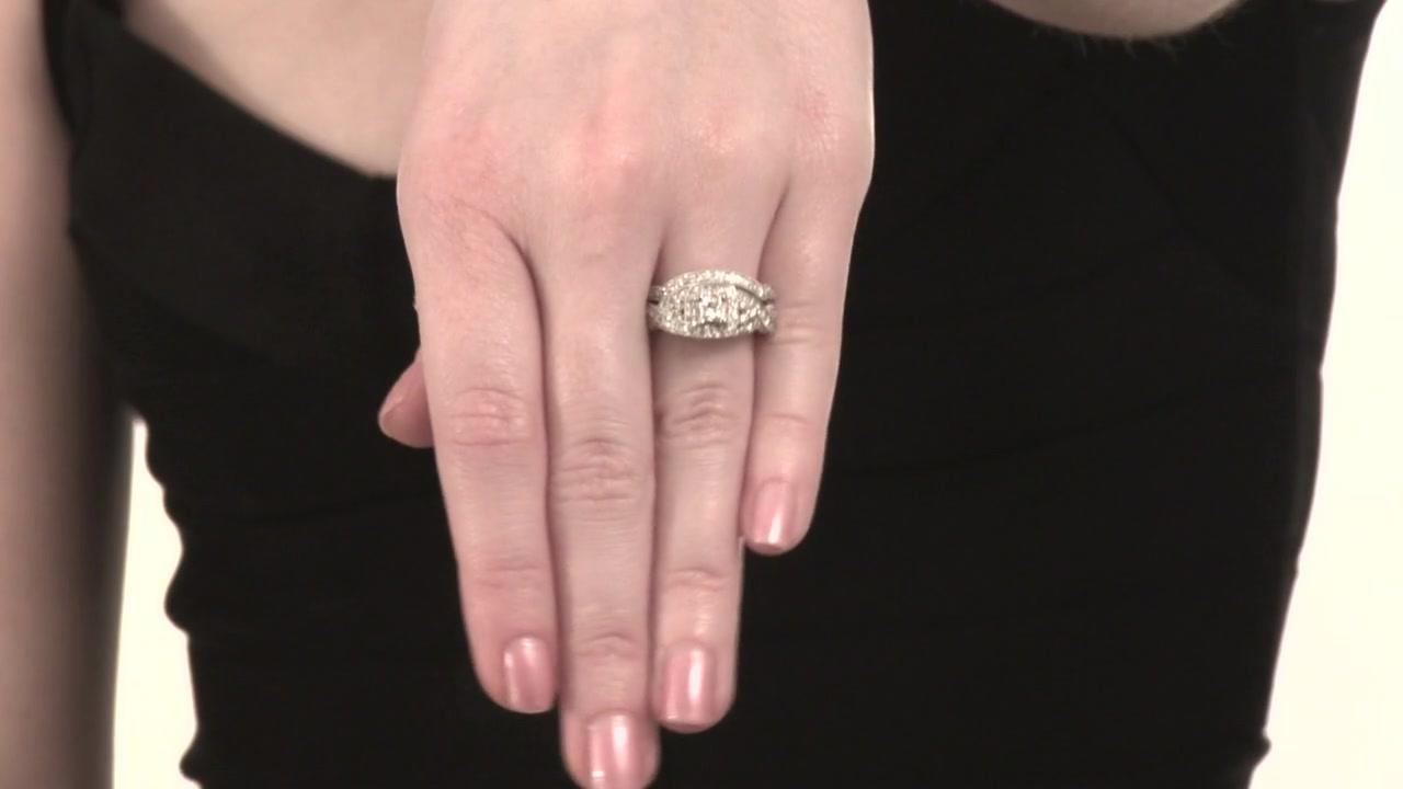 Princess-Cut Diamond Twist Bridal Set in 14K White Gold 1 CT. T.W. ...