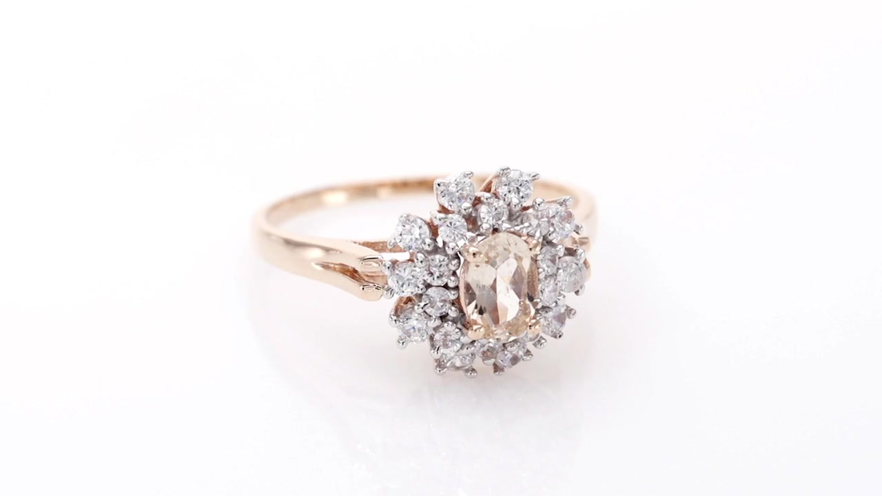487a3307b Video Home » Oval Morganite and White Sapphire Floral Frame Ring in 10K  Rose Gold