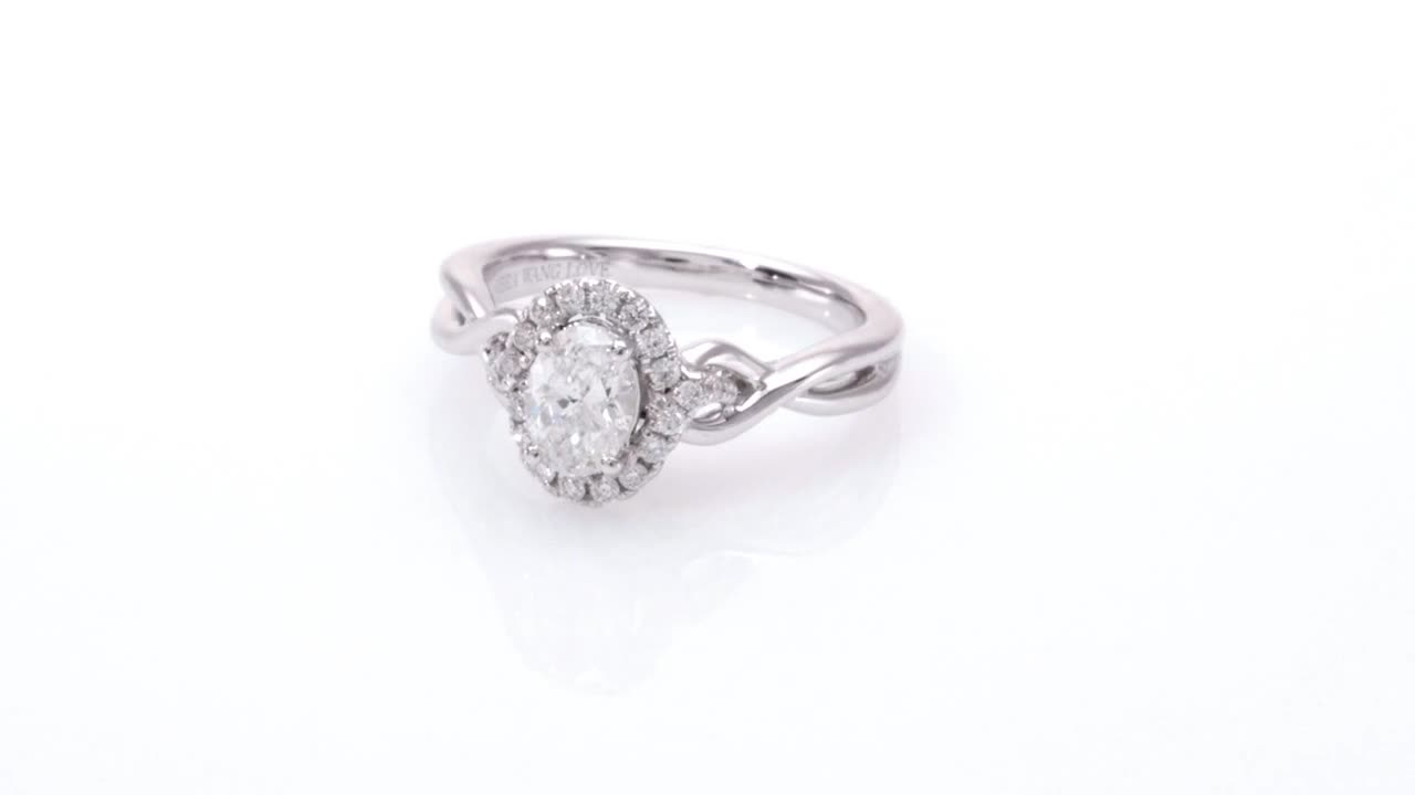 652496749dbb8 Oval Diamond Frame Twist Engagement Ring in 14K White Gold Vera Wang LOVE  Collection 1