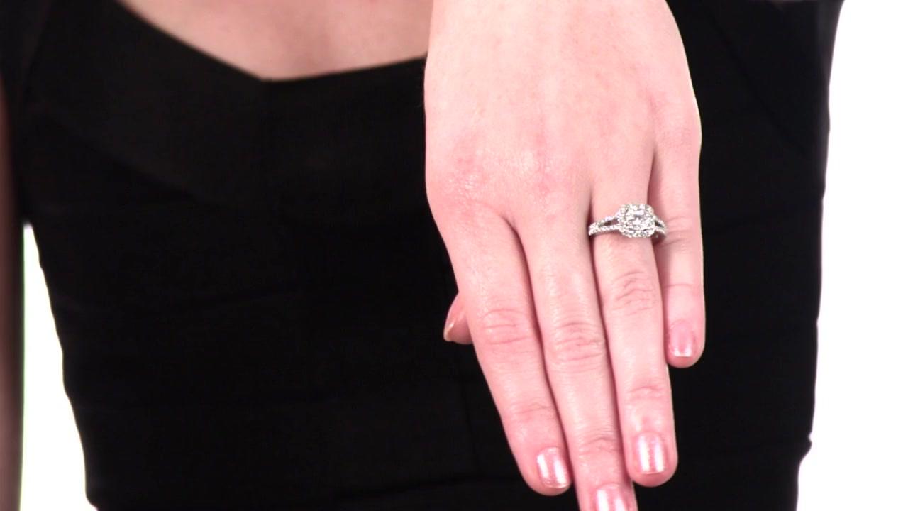 Diamond Cluster Split Shank Engagement Ring in 14K White Gold 3/4 CT ...