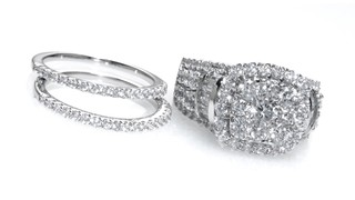 98cce7df47 Diamond Cluster Frame Three Piece Bridal Set in 14K White Gold ...