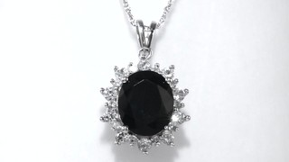 Zales Oval Onyx and Lab-Created White Sapphire Starburst Pendant and Ring Set in Sterling Silver RMI9X4vn
