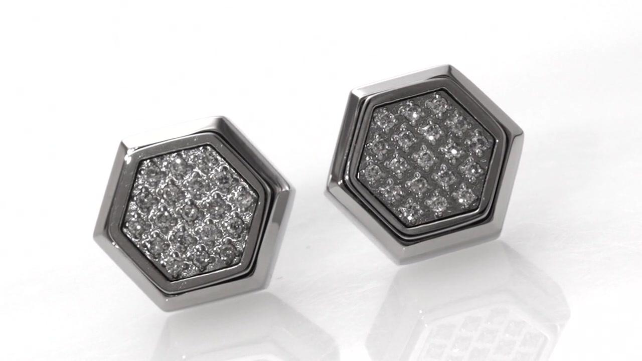 Diamond Hexagonal Stud Earrings In Stainless Steel Size Regular