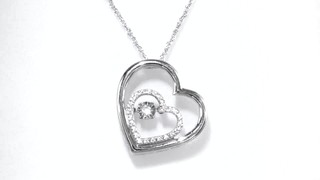 Zales Unstoppable Love 1/10 CT. T.w. Diamond Double Heart Pendant in Sterling Silver drNrikGPh