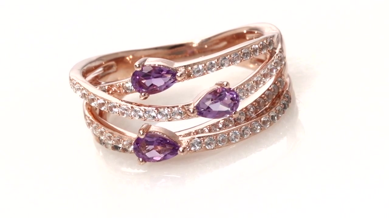 Zales Emerald-Cut Lab-Created Ruby and Amethyst Three Stone Frame Ring in Sterling Silver with 14K Rose Gold Plate BUHCYmlnBa
