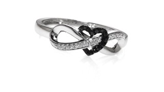 ecc22b55cc4 T.W. Enhanced Black and White Diamond Infinity Heart Wrapped Ring in. Mouse  over the image to zoom or click here to view larger image Click here to  view ...