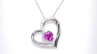 Zales 6.0mm Heart-Shaped Lab-Created Ruby and White Sapphire Heart Pendant in Sterling Silver I4D44