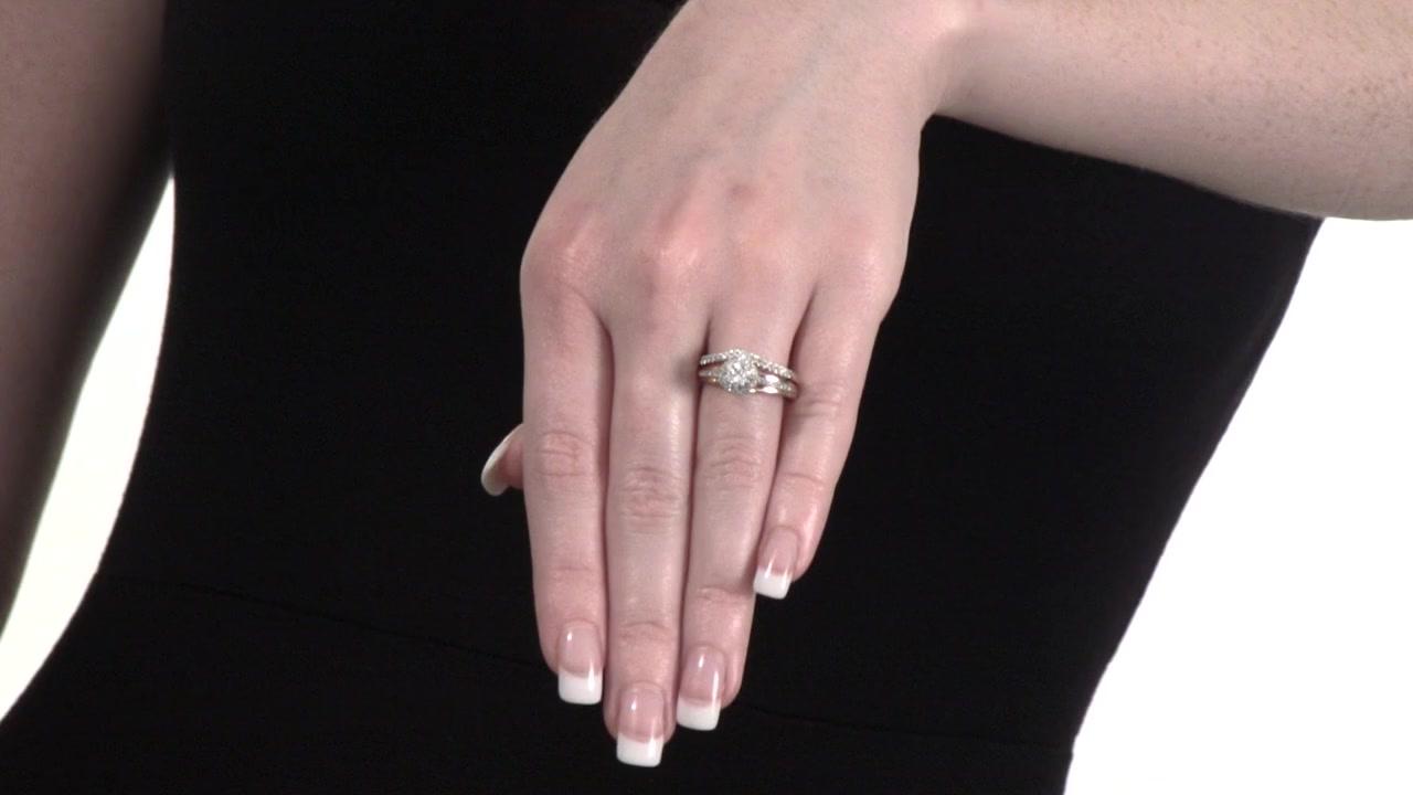 Diamond Cluster Frame Bridal Set in 10K Rose Gold 1/2 CT. T.W. ...