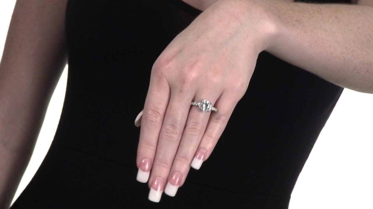 Lab-Created White Sapphire Frame Ring in Sterling Silver 8.0mm ...