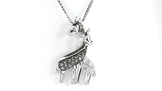 Zales 1/6 CT. T.w. Enhanced Champagne and White Diamond Loving Giraffe Pendant in Sterling Silver and 14K Gold Eya4qjDfB