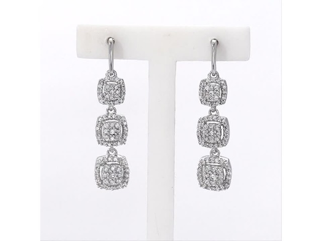 a246e115c Video Home » 1/3 CT. T.w. Composite Diamond Three Stone Cushion Frame Drop  Earrings in 10K White Gold