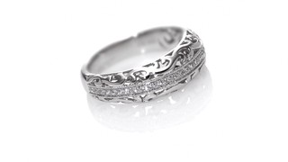 Ct t w diamond vintage style filigree anniversary band in
