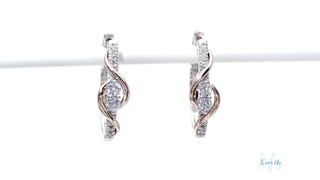 23842b0d6542b Two-Stone Diamond Linear Swirl Earrings in 14K Two-Tone Gold Ever Us™ 1/2  CT. T.W. two-tone gold
