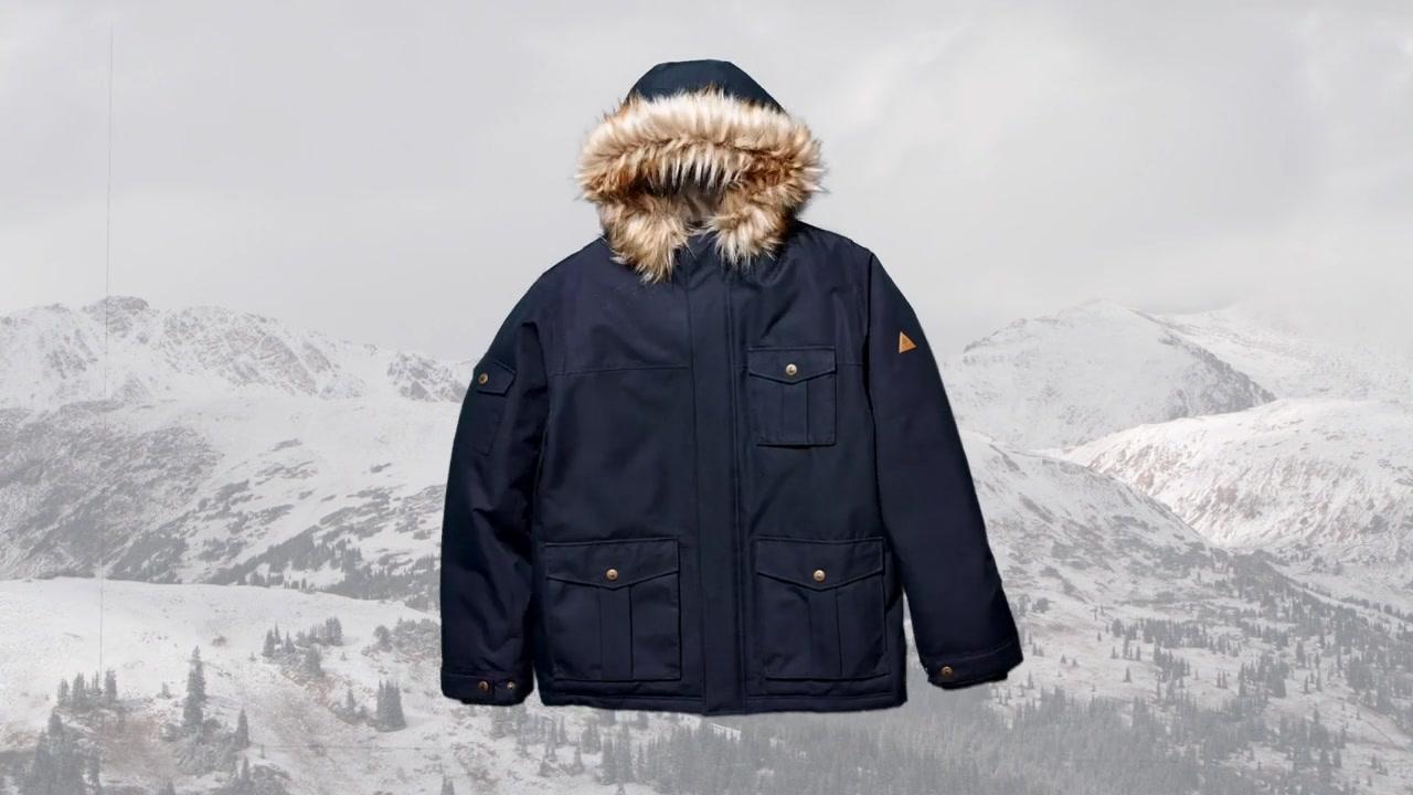 Woods pierce men's insulated parka jacket black forest