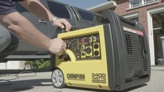 Champion 3400 Watt Gasoline Powered Portable Recoil Inverter Generator