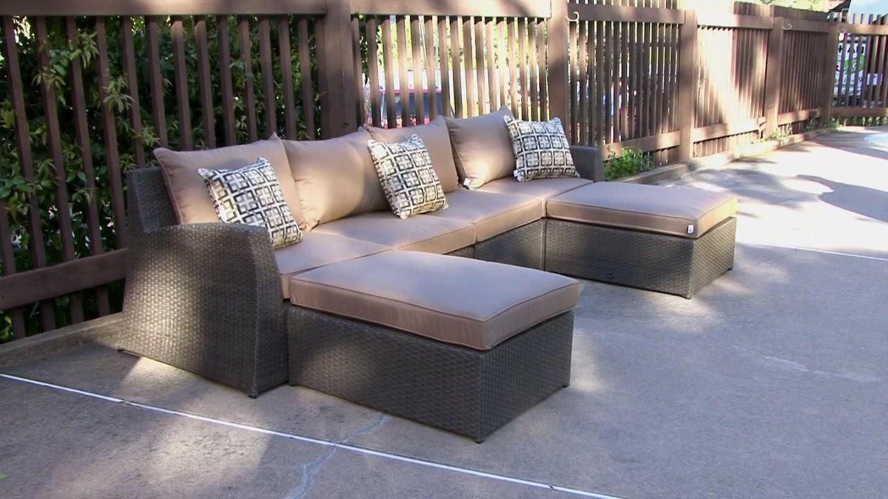 Hampton 6 Piece Patio Deep Seating Sectional By Sirio™ U0026raquo; Furniture    Video Gallery