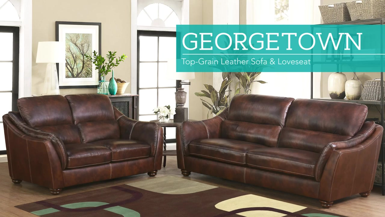 Georgetown 2 Piece Top Grain Leather Set   Sofa And Loveseat   Video Gallery