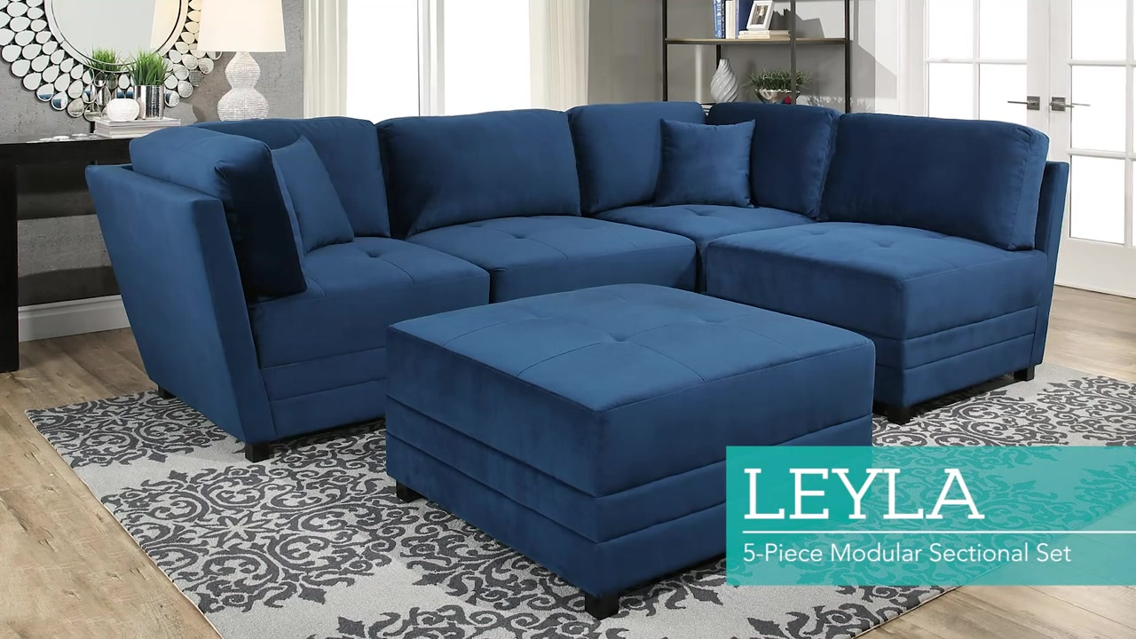 Leyla 5-piece Fabric Modular Sectional Living Room Set - Blue ...