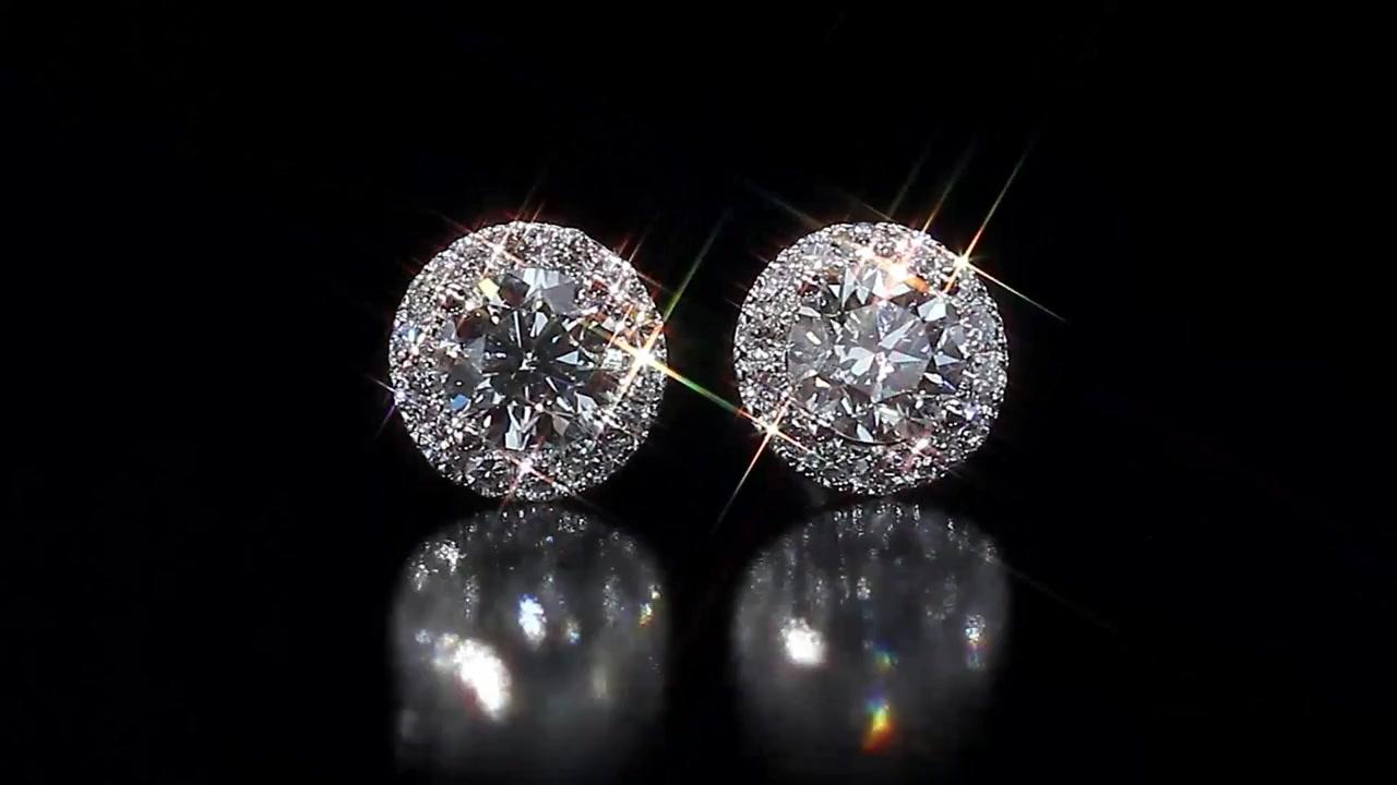 Costco Diamonds Earrings Round Brilliant Diamond Halo 1 95