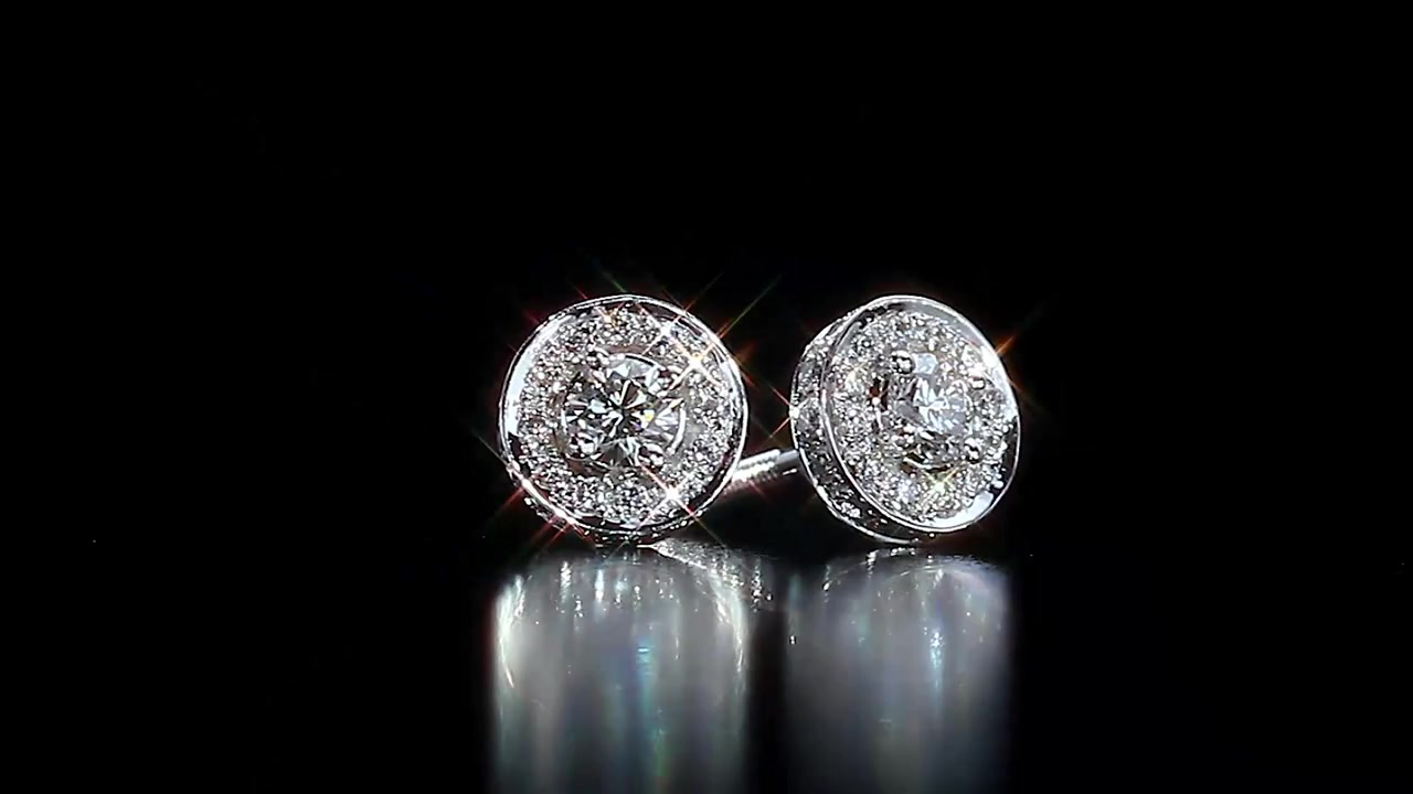 Round Brilliant Diamond Halo Earrings 52 Ctw 14kt White Gold Raquo Jewelry Video Gallery
